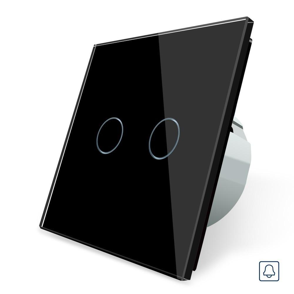 Сенсорный импульсный выключатель Livolo, цвет черны, материал стекло (VL-C702B-12)