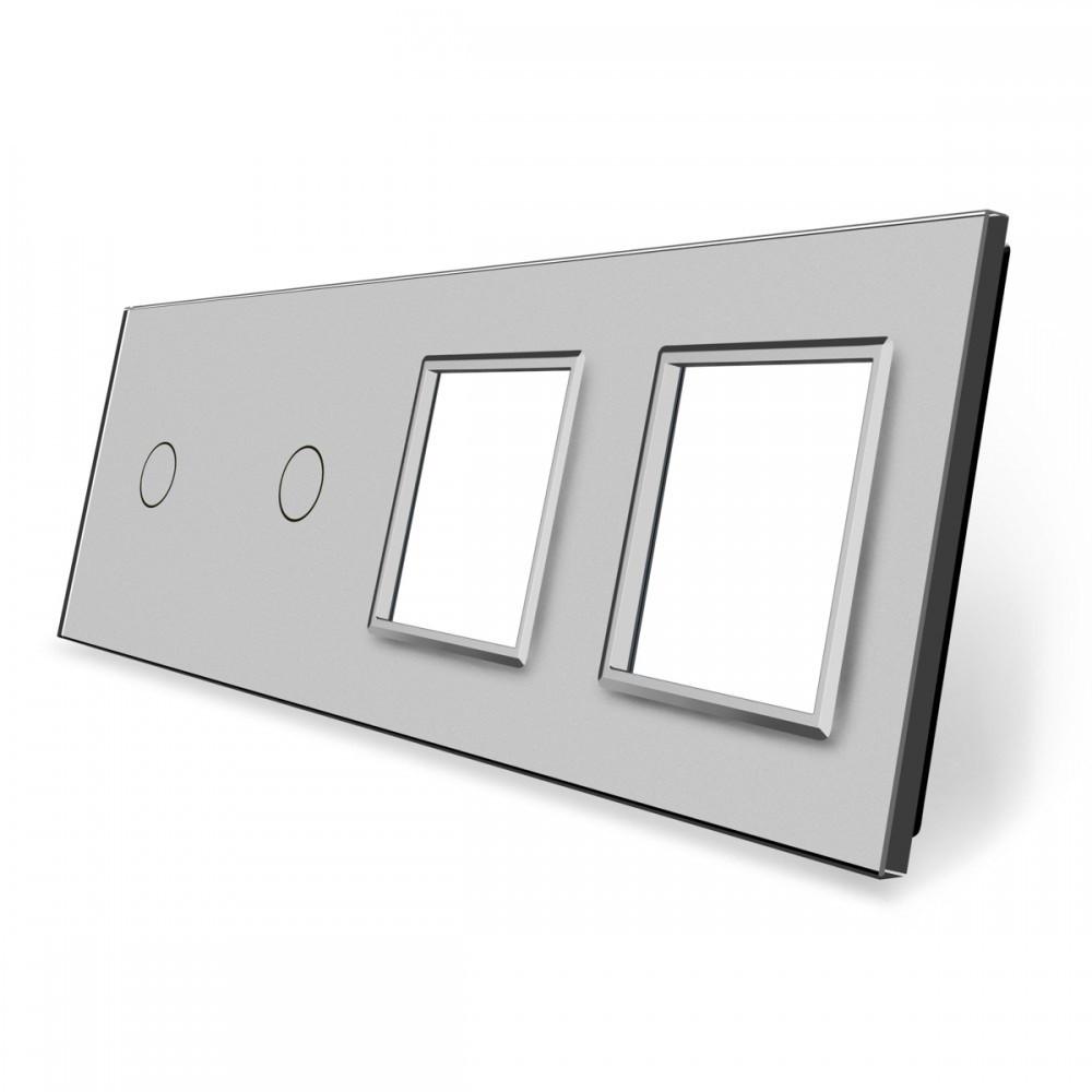 Лицевая панель для двух сенсорных выключателей и розеток Livolo, цвет серый, стекло (VL-C7-C1/C1/SR/SR-15)