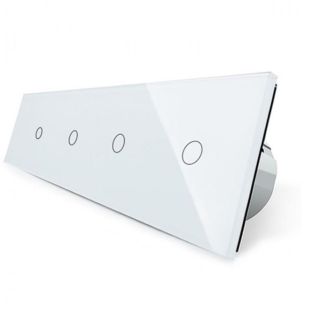 Сенсорный выключатель Livolo 1+1+1+1, цвет белый, стекло (VL-C704-11)
