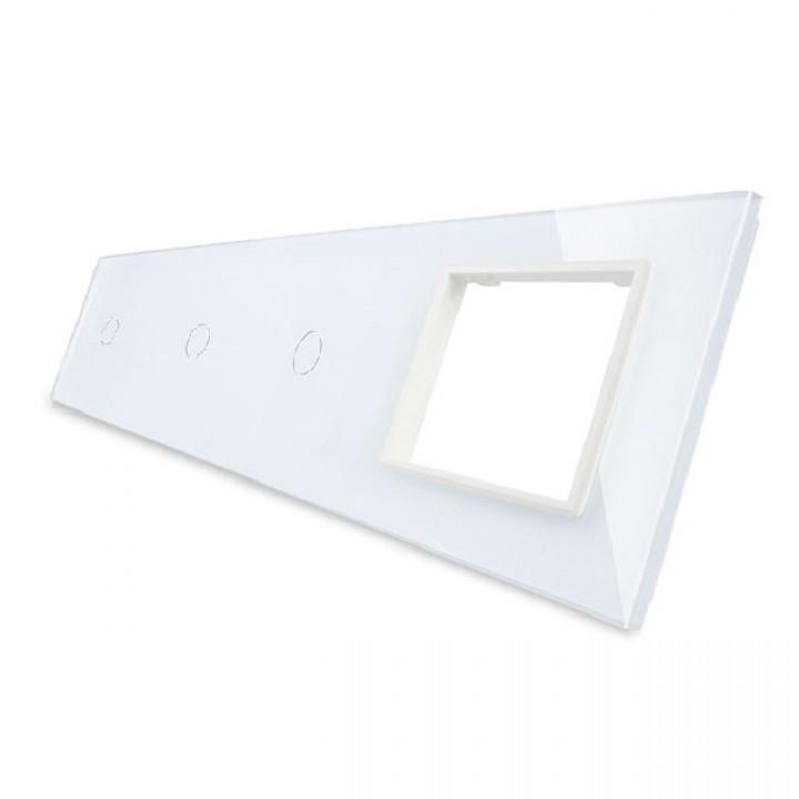 Лицевая панель для сенсорных выключателей Livolo 3 канала и розетки, цвет белый, стекло (VL-C7-C1/C1/C1/SR-11)