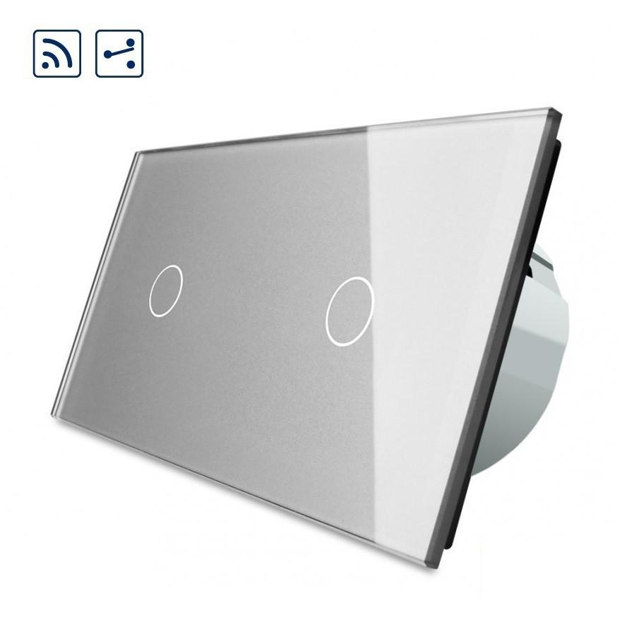 Сенсорный проходной выключатель Livolo 1-1 с дистанционным управлением, цвет серый (VL-C701SR/C701SR-15)