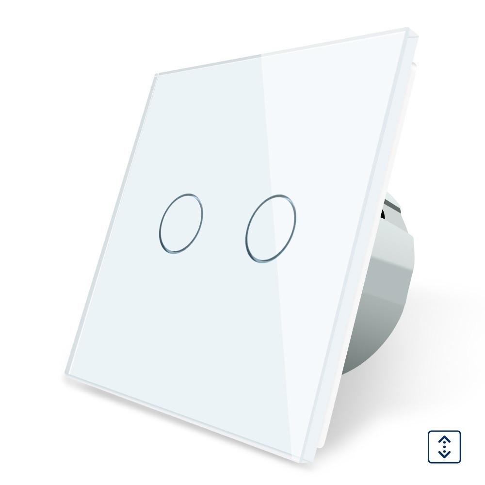 Сенсорный выключатель для ролет штор ворот жалюзи Livolo белый стекло (VL-C702W-11)