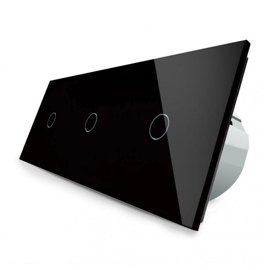 Сенсорный выключатель Livolo 1-1-1, цвет черный, стекло (VL-C703-12)