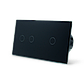 Сенсорный проходной выключатель Livolo на 3 канала 1+2, цвет черный, стекло (VL-C701S/C702S-12), фото 3