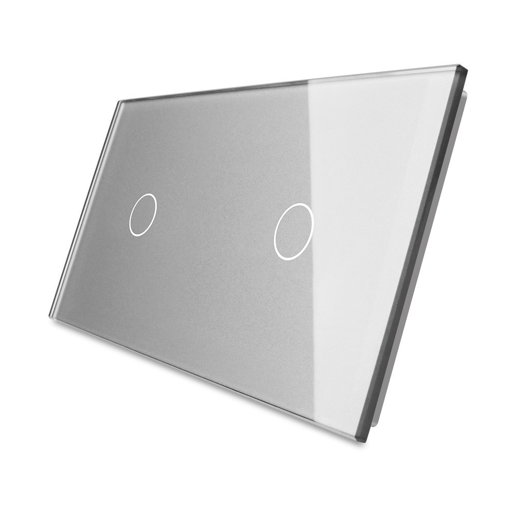 Лицевая панель для сенсорного выключателя Livolo 2 канала, цвет серый, стекло (VL-C7-C1/C1-15)