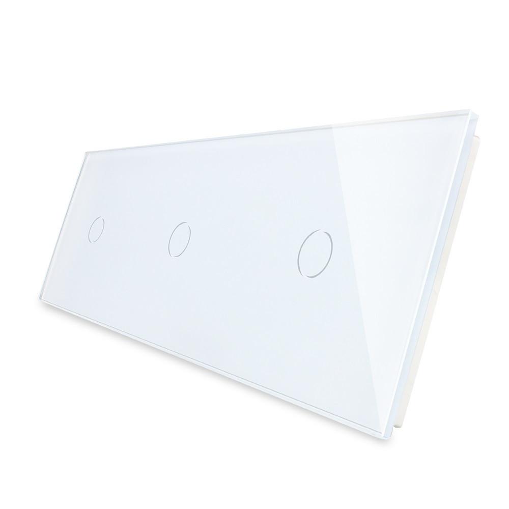 Лицевая панель для сенсорного выключателя Livolo 3 канала, цвет белый, стекло (VL-C7-C1/C1/C1-11)