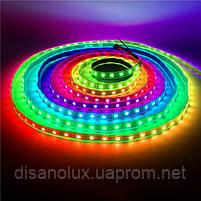 Светодиодная  Адресная Smart LED лента WS2811  5050 12V 60Led/m  5m RGB  черная подложка IP65, фото 4