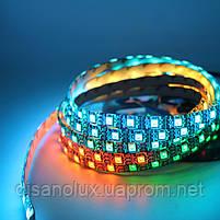 Светодиодная  Адресная Smart LED лента WS2811  5050 12V 60Led/m  5m RGB  черная подложка IP65, фото 5