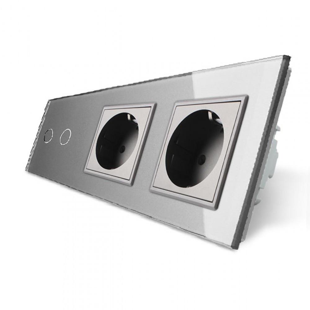 Сенсорный выключатель на две линии с двумя розетками Livolo, цвет серый, стекло (VL-C702/C7C2EU-15)