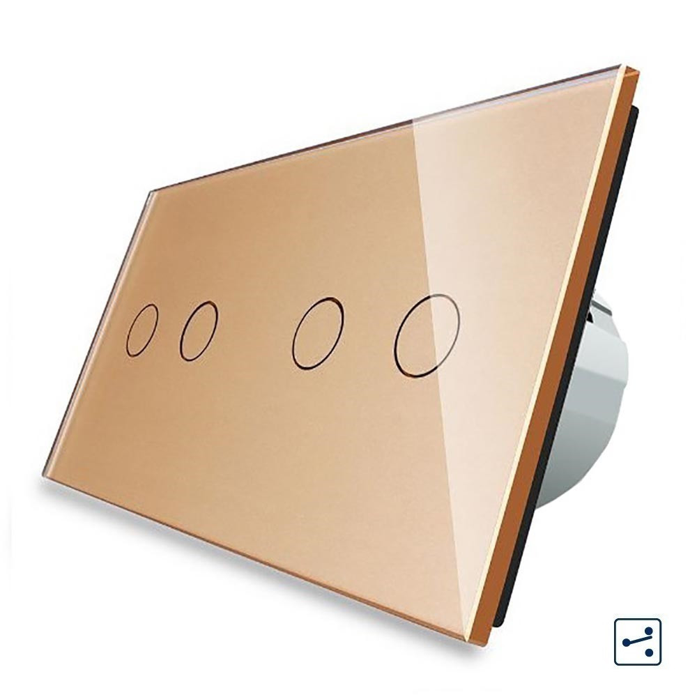 Сенсорный проходной выключатель Livolo на 4 канала 2+2, цвет золотой, стекло (VL-C702S/C702S-13)