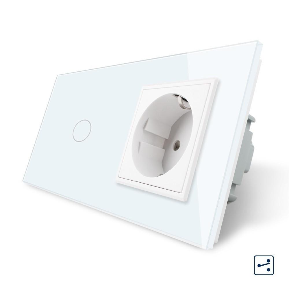 Сенсорный проходной выключатель с розеткой Livolo, цвет белый, стекло (VL-C701S/C7C1EU-11)