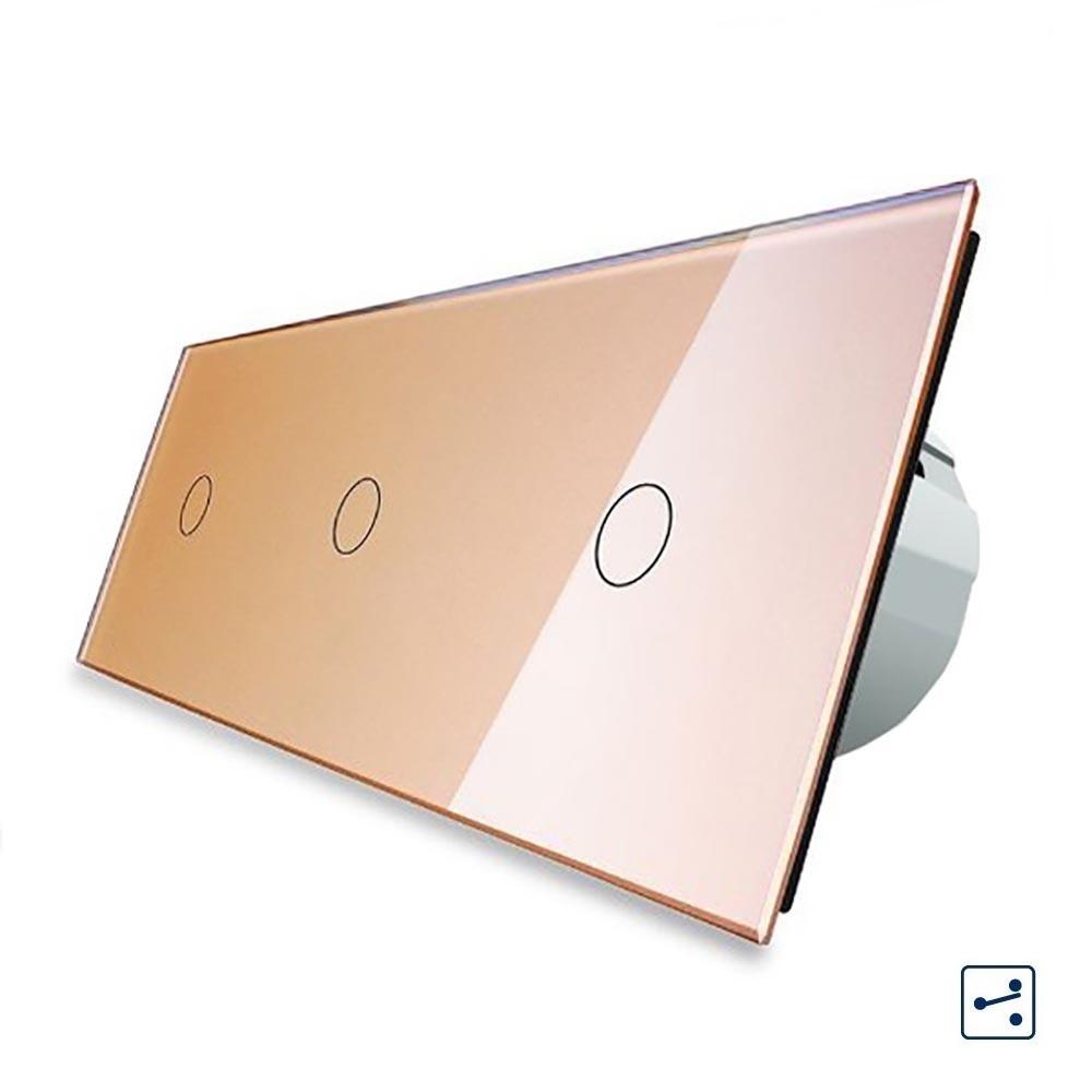 Сенсорный проходной выключатель Livolo на 3 канала 1+1+1, цвет золотой, стекло (VL-C703S-13)