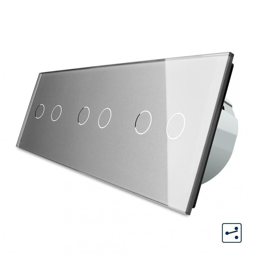 Сенсорный проходной выключатель Livolo на 6 каналов 2+2+2, цвет серый, стекло (VL-C706S-15)