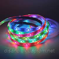 Светодиодная  Адресная Smart LED лента WS2811  5050 12V 60Led/m  5m RGB  черная подложка IP65, фото 2