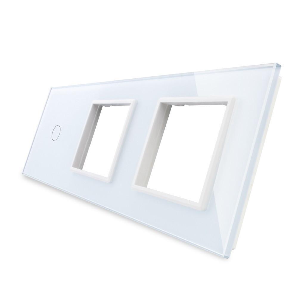 Лицевая панель для сенсорного выключателя Livolo 1 канал и 2х розеток, цвет белый, стекло (VL-C7-C1/SR/SR-11)