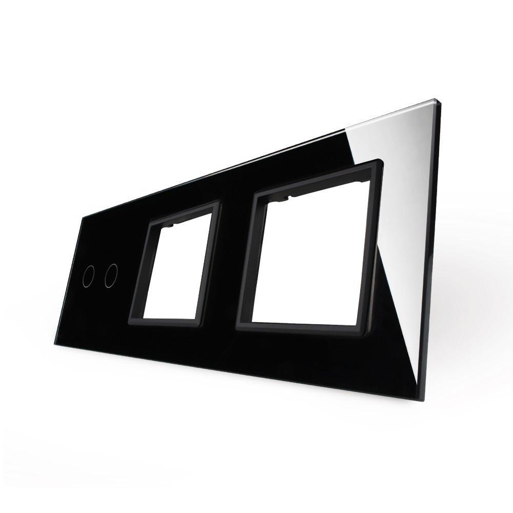 Лицевая панель LIVOLO для сенсорного выключателя на 2 канала и розеток цвет черный (VL-C7-C2/SR/SR-12)