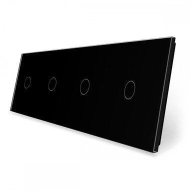 Лицевая панель для сенсорного выключателя Livolo 4 канала, цвет черный, стекло (VL-C7-C1/C1/C1/C1-12)