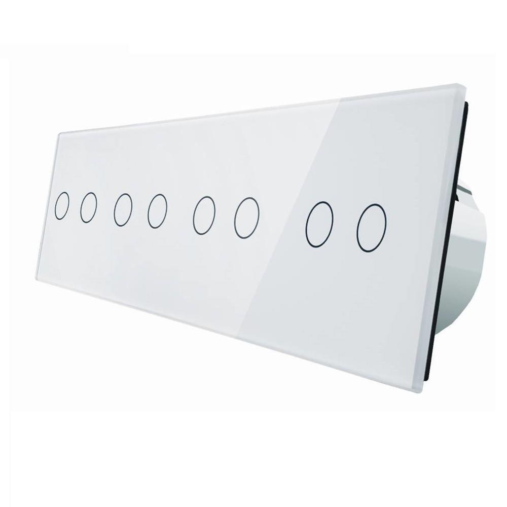 Сенсорный выключатель Livolo на восемь (2+2+2+2) каналов, цвет белый, стекло (VL-C708-11)