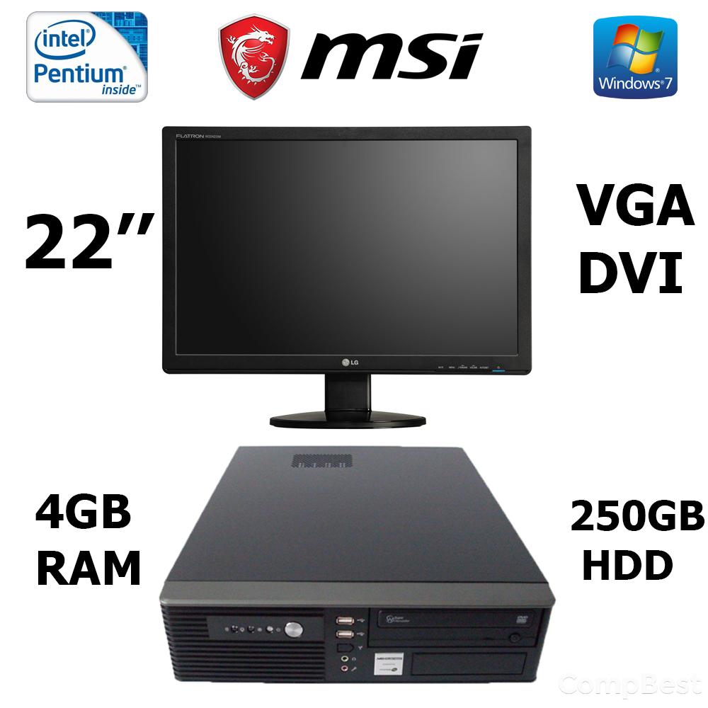 MSI SFF / Intel® Pentium® G2030 (2 ядра по 3.0GHz) / 4 GB DDR3 / 250 GB HDD / DVD привод / USB 3.0, SATA 3.0, PCI Express 3.0 + Монитор ACER AL2223W /