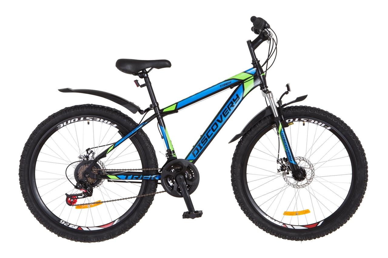 """Велосипед Discovery TREK DD 26"""" Черно-сине-зеленый, 18"""""""
