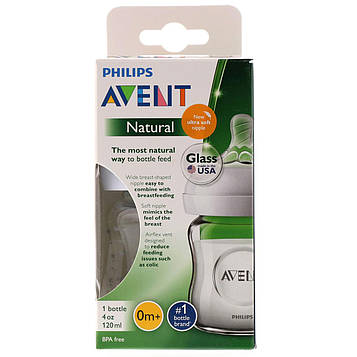 Philips Avent, Natural Glass Bottle, 0 + Months, 1 Bottle, 4 oz (120 ml)