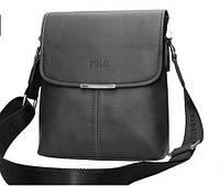 Кожаная сумка Polo Videng, черная, Качественная реплика , фото 1