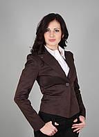 Пиджак женский с подкладкой коричневый(Жакет жіночий коричневий), фото 1