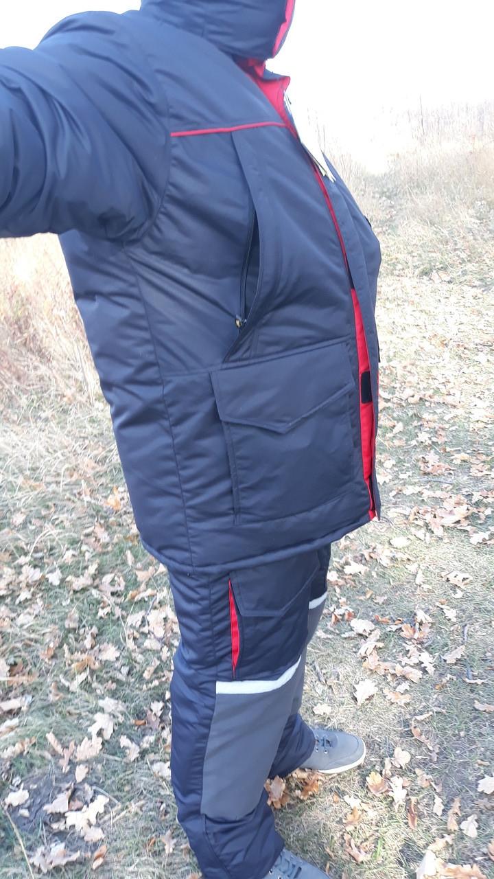 Зимний костюм для рыбалки и охоты  SnowmaX синий /красные вставки Хит 2018
