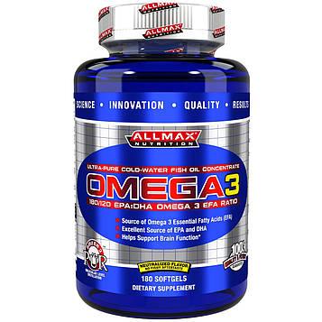 ALLMAX Nutrition, Omega-3 Fish Oil, Ultra-Pure Cold-Water Fish Oil, ZERO-GMO, ZERO-Gluten, 180 Softgels