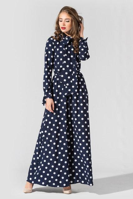 Платье Tess Dress Лея 1591 46 ukr Темно-синее в белый горох (2946890085292)