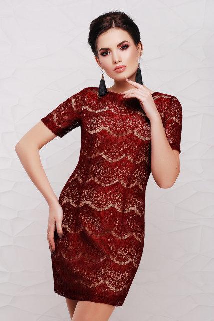 Платье Tess Dress Lexi 1084 48 ukr Бордовое (2990210075784)