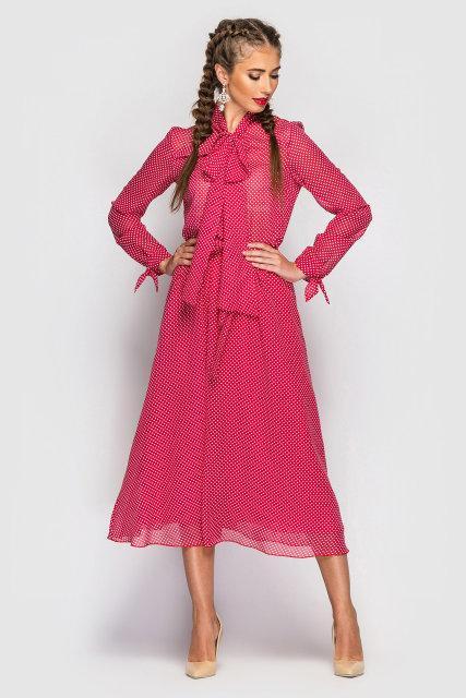 Платье Tess Dress Мэлларис 1585 42 ukr Красное в белый горох (2946890084967)