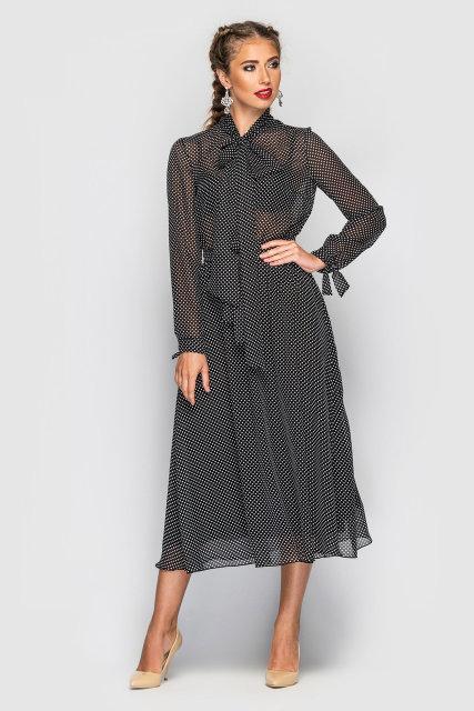 Платье Tess Dress Мэлларис 1583 44 ukr Черное в белый горох (2946890084936)