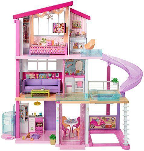 Кукла Барби Barbie дом мечты интерактивный свет и звук трансформация 3 этажа 8 комнат 70 аксессуаров