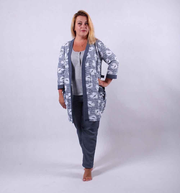 """Теплый комплект тройка халат с пижамой """"Blue"""" р.42,46"""