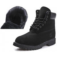 Ботинки женские Timberland 6 inch Black Lite Edition (тимберленд) черные с мехом