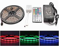 Качество! RGB светодиодная лента влагозащищенная, комплект (набор), RGB LED strip, 5050 SMD, 60 LED/м, 5м