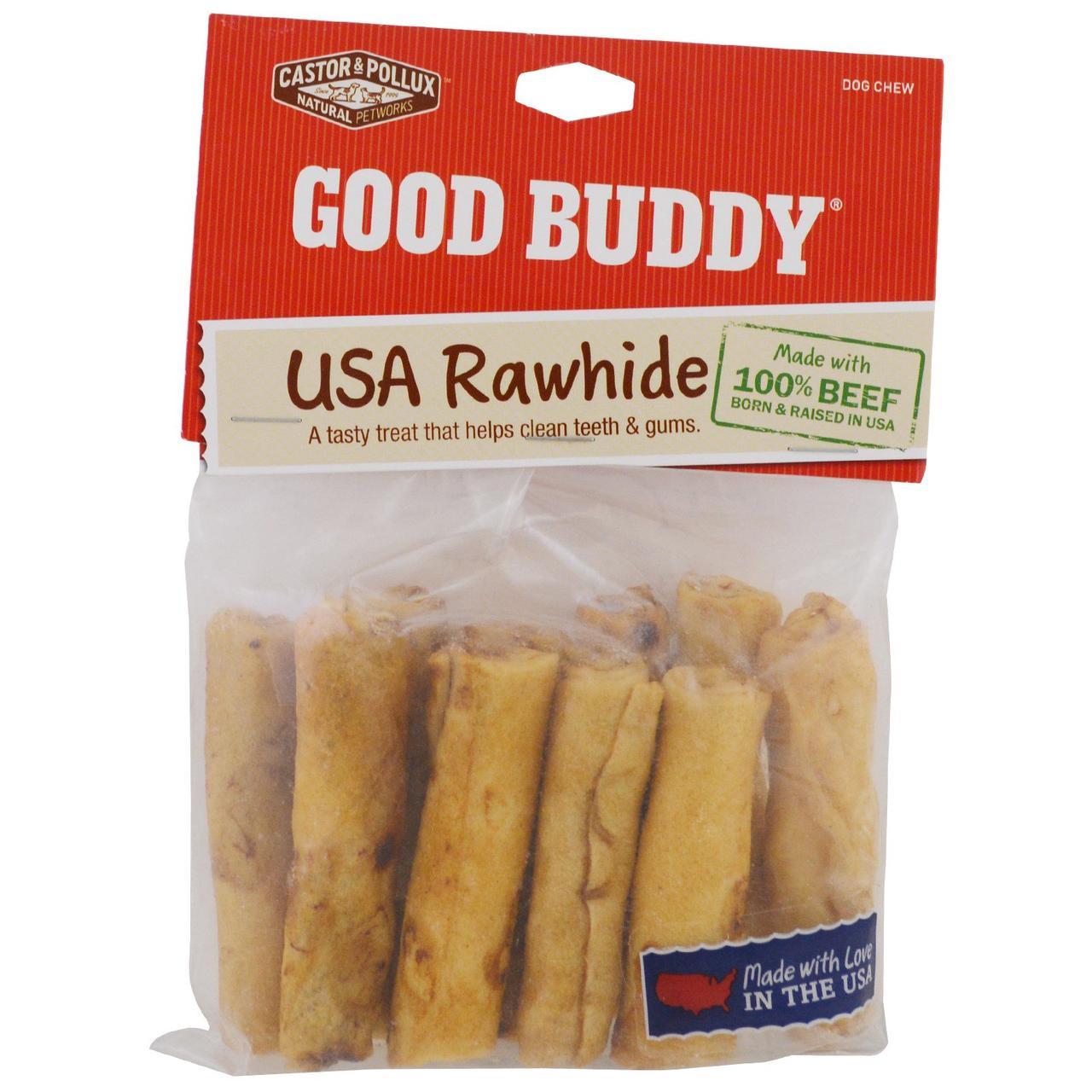 Castor & Pollux, Good Buddy, американская сыромятная кожа, палочки с ароматом курицы, 10 палочек