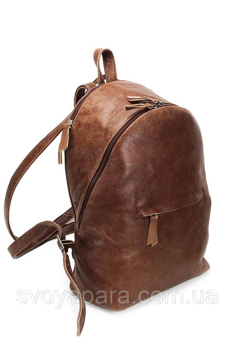Женский рюкзак из натуральной кожи коричневого цвета с двумя отделениями и кожаными ремнями