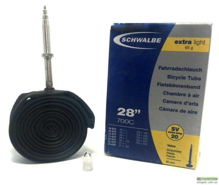 "Камeра велосипеда 28"" - Schwalbe SV20 Presta Extra Light Вентиль 40 мм"