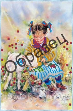 Схема для вышивки бисером «Девочка с козленком»