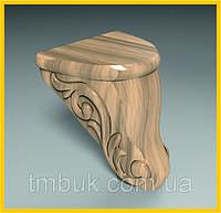 Маленькая выступающая ножка для дивана, шкафа, деревянной мягкой мебели. Резная с завитками. 100 мм