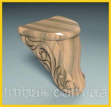 Маленькая выступающая ножка для дивана, шкафа, деревянной мягкой  мебели. Резная с завитками. 100 мм, фото 2