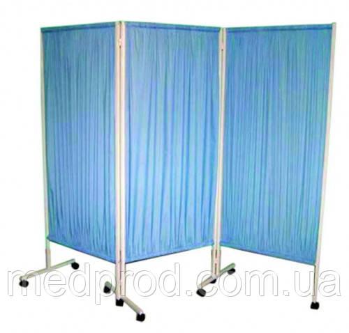 Ширма 3-х секционная мобильная медицинская голубой цвет полотна
