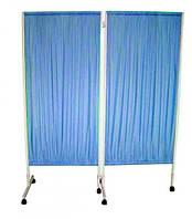 Ширма 2-х секционная (2 створки) на колесах медицинская голубая