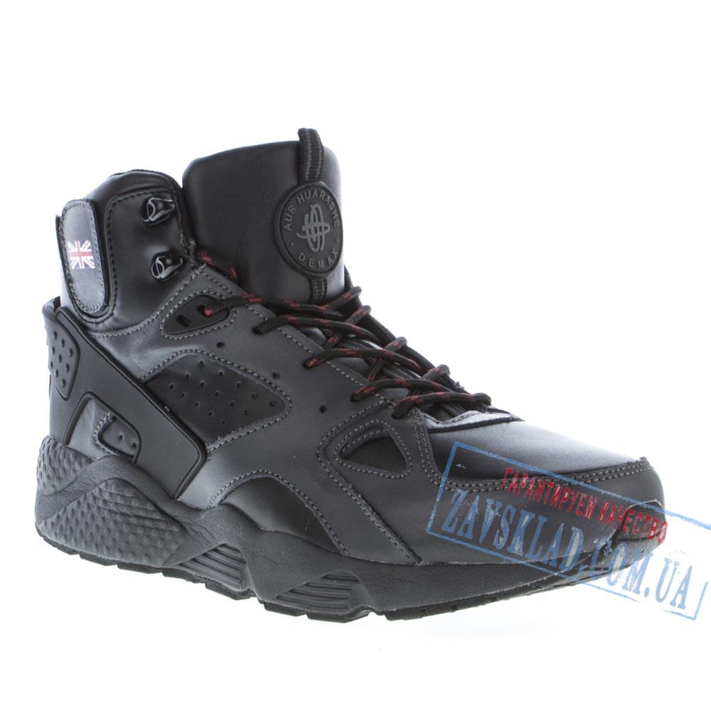 Высокие зимние мужские кроссовки Demax DX25, черные, натуральная кожа, на меху.