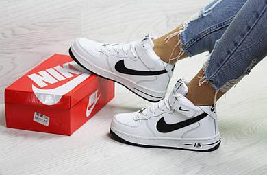 Зимние высокие подростковые   женские кроссовки Nike Air Force с мехом (Топ  реплика ААА+ 57f60b51beb