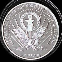 Серебряная монета Марианских островов 5 долларов 2004 г. Магеллан и первое кругосветное плавание. Пруф