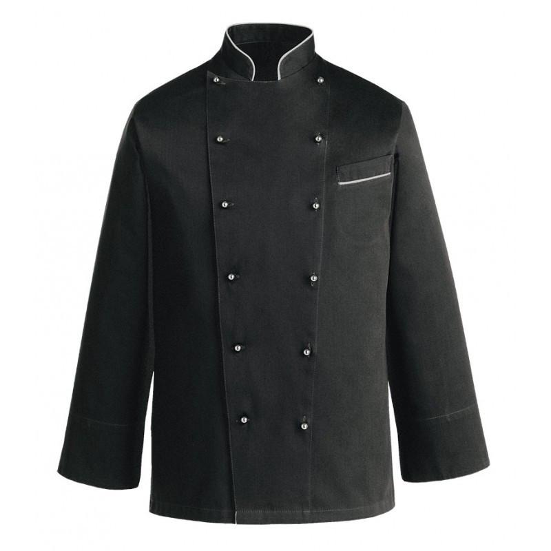 Китель поварской черный с белым кантом Atteks - 00923