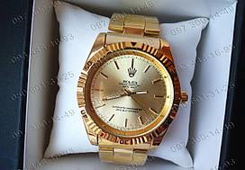 Копия часов Rolex, золотистого цвета, кварцевые.